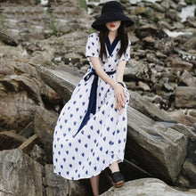 Load image into Gallery viewer, Handmade v neck blue tie waist linen cotton white print Dress summer