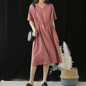 Handmade v neck drawstring silk Runway pink Dresses summer