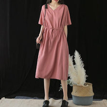 Load image into Gallery viewer, Handmade v neck drawstring silk Runway pink Dresses summer