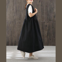 Load image into Gallery viewer, Handmade v neck sleeveless fall quilting dresses Shirts black Maxi Dress