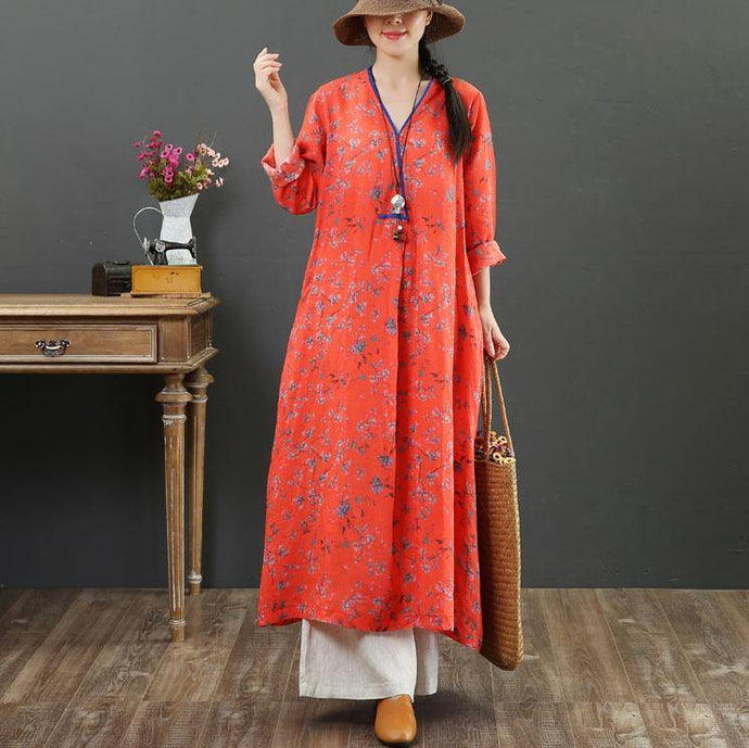 Handmade v neck tie waist linen Robes Inspiration orange print Dresses fall