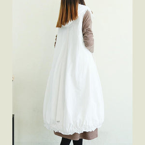 Handmade white Plus Size trench coat pattern hooded pockets sleeveless jackets