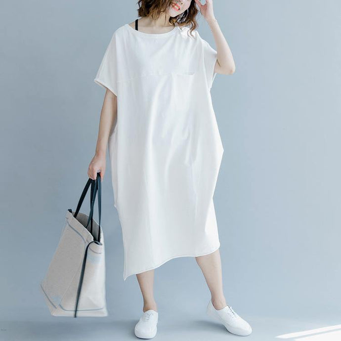 Handmade white cotton dress Women Catwalk o neck Robe Dresses