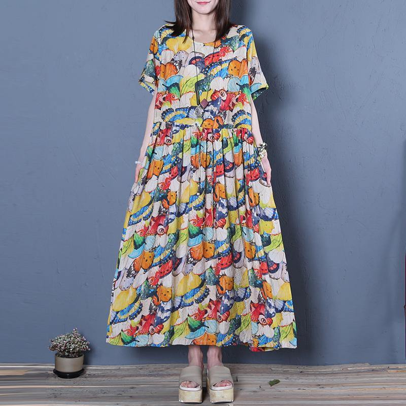 Handmade wrinkled o neck cotton clothes linen light floral Maxi Dress summer