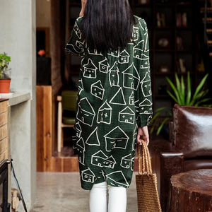 Happy house print cotton sundress long sleeves shirt blouse in green