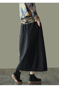Women Winter Padded Elastic Waist Solid Color Skirts Ladies Vintage Cotton Linen Loose Skirt Female 2020 Skirts