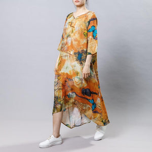 High Low Hem Printed Three Quarter Sleeve Dress
