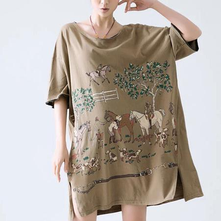 Horse print plus size sundress oversize shirt dress