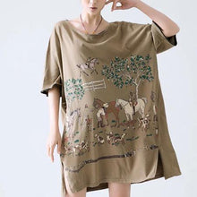 Load image into Gallery viewer, Horse print plus size sundress oversize shirt dress