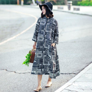 Retro Stand Collar Printed Women Black Dress