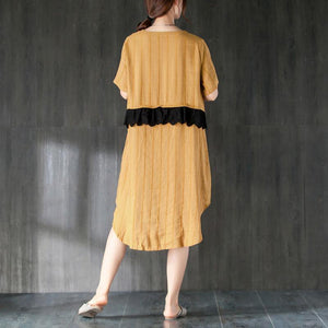 Summer Short Sleeve Lacing Pockets Dress