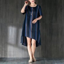 Load image into Gallery viewer, Navy Blue Stripe Women Dress with Ribbon Pocket