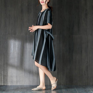 Short Sleeves Stripe Women Dress with Ribbon