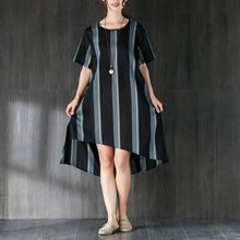 Load image into Gallery viewer, Short Sleeves Stripe Women Dress with Ribbon