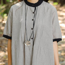 Load image into Gallery viewer, Women Stand Collar Buttons Stripe Pockets 1/2 Sleeve Dress