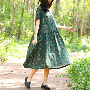Women Retro Short Sleeve Pockets Printing Pleated Green Dress