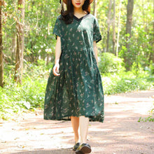 Load image into Gallery viewer, Women Retro Short Sleeve Pockets Printing Pleated Green Dress