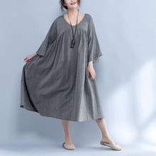 Load image into Gallery viewer, V Neck Three Quarter Sleeve Loose Gray Dress