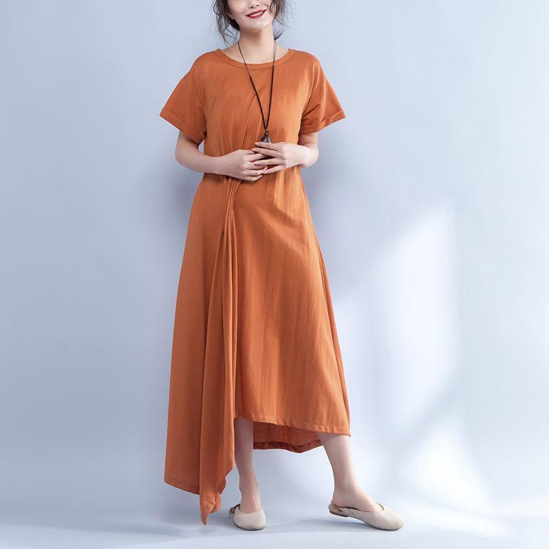 Short Sleeve Round Neck Summer Irregular Orange Dress