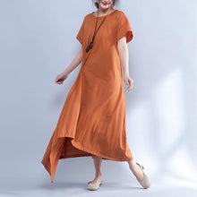 Load image into Gallery viewer, Short Sleeve Round Neck Summer Irregular Orange Dress