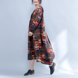 Irregular Round Neck Long Sleeve Printed Loose Dress