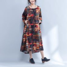 Load image into Gallery viewer, Irregular Round Neck Long Sleeve Printed Loose Dress