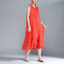 Laden Sie das Bild in den Galerie-Viewer, Women Embroidered Pullovers Sleeveless Red Dress