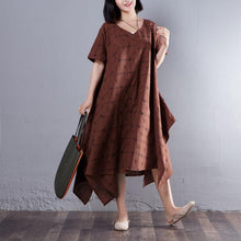 Laden Sie das Bild in den Galerie-Viewer, Summer V Neck Short Sleeve Loose Lattice Red Dress