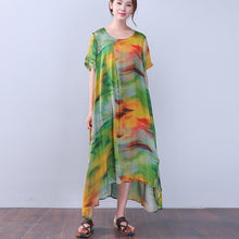 Laden Sie das Bild in den Galerie-Viewer, Retro Slit Printing Silk Women Short Sleeves Green Dress