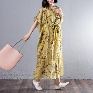 Spring Summer Round Neck Short Sleeve Printed Yellow Dress