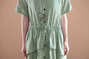 V Neck Short Sleeve Casual Green Single Breasted Dress