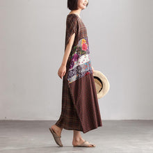 Laden Sie das Bild in den Galerie-Viewer, Linen Loose Baggy Plaid Brown Summer Dress Women