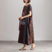 Load image into Gallery viewer, Linen Loose Baggy Plaid Brown Summer Dress Women