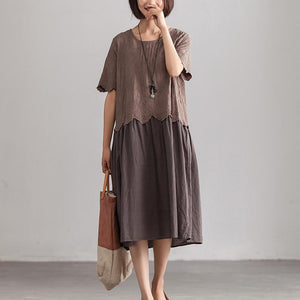 Summer Short Sleeve O-Neck Casual One Size Gray Long Dress