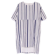 Load image into Gallery viewer, Women Summer Round Neck Short Sleeve Stripe Dress