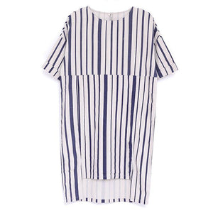 Women Summer Round Neck Short Sleeve Stripe Dress