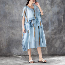 Laden Sie das Bild in den Galerie-Viewer, Summer Women Short Sleeve Pleated Blue Thin Dress