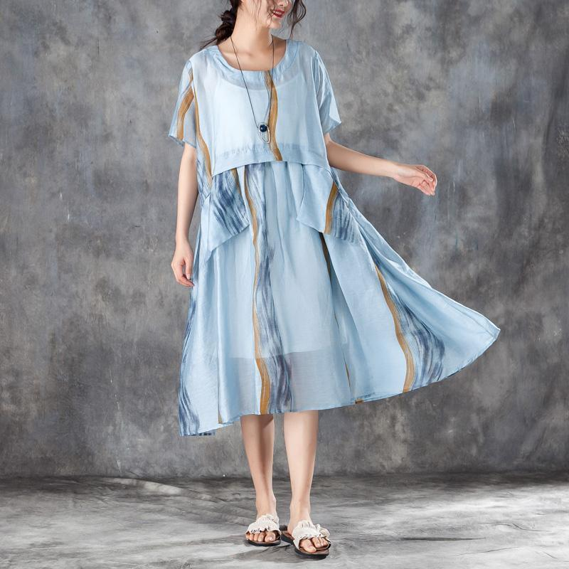 Summer Women Short Sleeve Pleated Blue Thin Dress