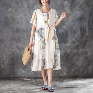 Summer Women Short Sleeve Pleated Beige Thin Dress