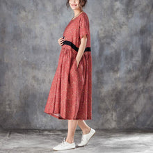Load image into Gallery viewer, Printed Lacing Short Sleeve Dresses Red Pleated Dress