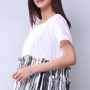 Summer Printing Women Folded Splicing White Dress