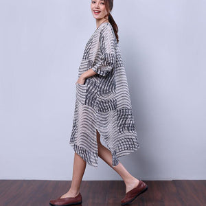 Hemp Slit Pocket Strap Women Gray Dress