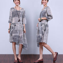 Laden Sie das Bild in den Galerie-Viewer, Hemp Slit Pocket Strap Women Gray Dress