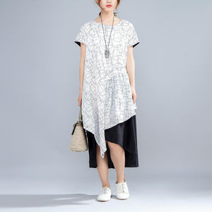 Irregular Round Neck Short Sleeve Casual Women Dress