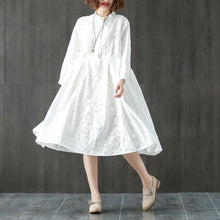 Load image into Gallery viewer, Long Sleeve Stand Collar Loose White Pleated Dress