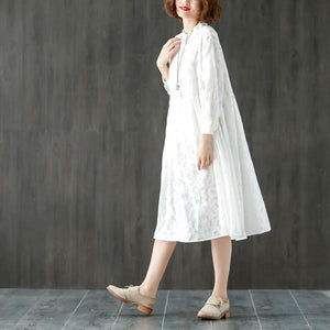 Long Sleeve Stand Collar Loose White Pleated Dress