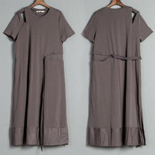 Load image into Gallery viewer, Short Sleeve Slit Round Neck Belt Gray Dress