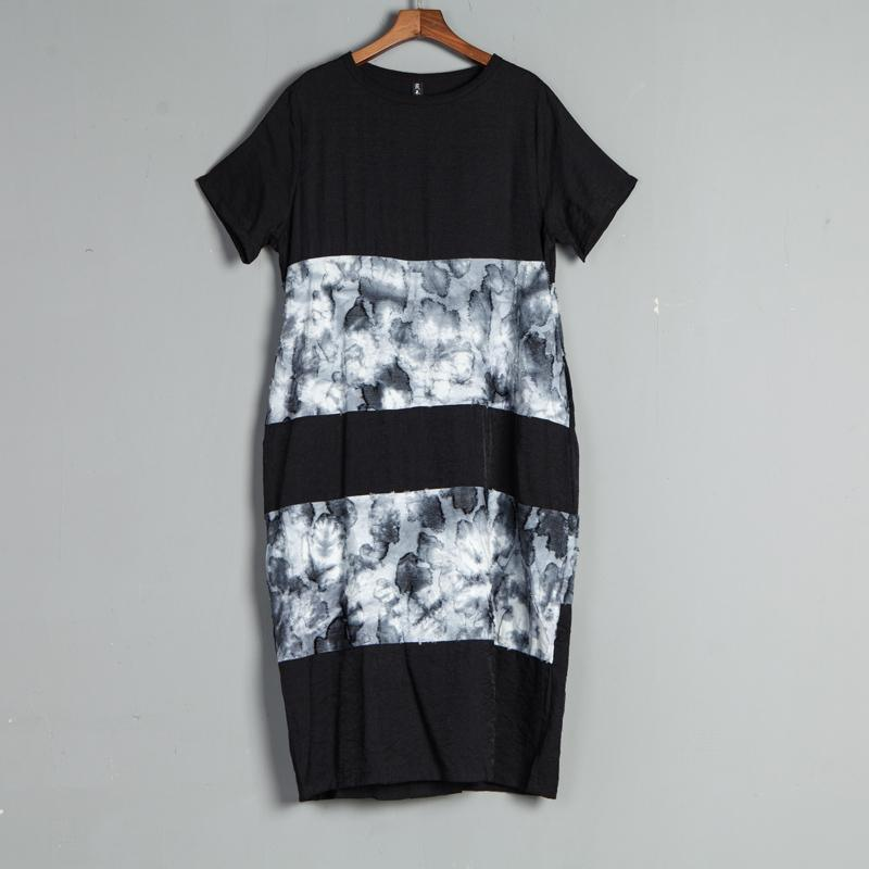 Short Sleeve Casual Round Neck Black Summer Dress