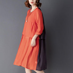 Round Neck Three Quarter Sleeve Red Knee Length Dress