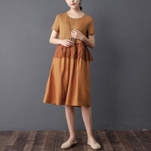 Load image into Gallery viewer, Splicing Round Neck Short Sleeve Orange Dress